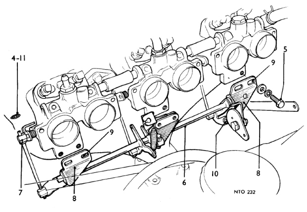 Late TR6 CP throttle linkage schematic