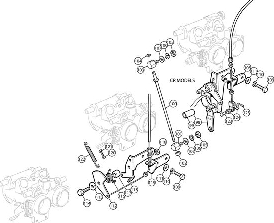 TR6 CR and 2.5PI mk 2 Throttle linkage schematic